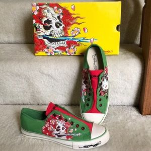 Ed hardy ghost green skull sneakers